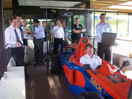 Simdeck Formula Simulators introduced to cluster members at the Massey e-Centre.